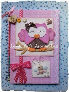 Caderno decorado tema corujinha