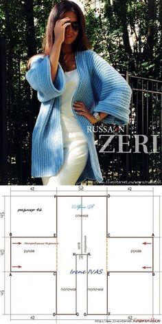 Chrysi Floridou's # 789 media content and analytics - knitting Diy Crochet Cardigan, Crochet Coat, Crochet Jacket, Crochet Poncho Patterns, Knit Jacket, Crochet Clothes, Knitting Patterns, Tunic Pattern, Free Pattern