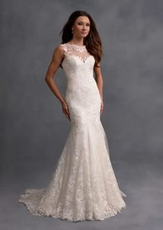 Beautiful Wedding Dress with Illusion Neckline and Back
