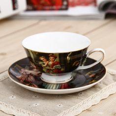 Hoy con el 25% de descuento. Llévalo por solo $62,600.Figura pintura al óleo Europea Serie China de hueso de la taza de té y platillo Set.