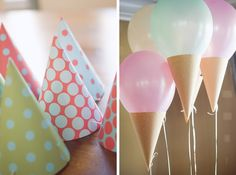 Make simple balloons into ice cream cone ballons by just adding paper to the bottom!!!