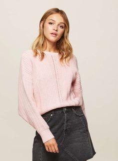 Pink Pointelle Batwing Sleeve Knitted Jumper - Miss Selfridge