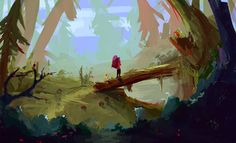 Forest traveler by eltowergo on DeviantArt Scenery Paintings, Fantasy Paintings, Landscape Paintings, Fantasy Art, Instagram Challenge, Slice Of Life, Beautiful Landscapes, Painting & Drawing, Deviantart