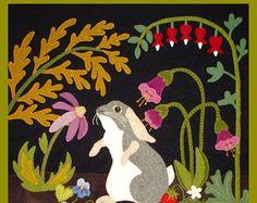 A Garden Intruder - Summer: Rabbit, Primitive, Whimsical, Wool Appliqué PATTERN, Sweet Quilt - You get FREE SHIPPING
