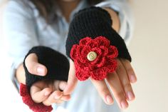 Valentine's Day Fingerless  Gloves Knit in Black, Red Flower, Golden Button - Arm Warmers - Women Teens Accessories - Fall Winter Fashion by ForYouDesign on Etsy https://www.etsy.com/listing/170400128/valentines-day-fingerless-gloves-knit-in