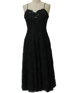 90s -David Rose- Womens little black mid length, tank cut nylon lined polyester and rayon lace overlaid wicked 90s nighty inspired cocktail dress with back zip closure, princess seaming, notched v-neckline with bead accenting and box cut hem.