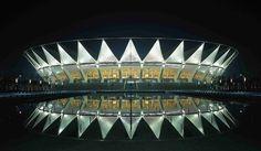 Century Lotus Stadium in Foshan - China Cabinet D Architecture, Hotel Architecture, Amazing Architecture, Hiroshi Hara, Soccer Stadium, Football Stadiums, Zaha Hadid, Sport Park, Facade Lighting