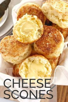 Looking for an easy recipe for savoury cheese scones? These buttermilk cheese scones are packed with cheddar and parmesan cheese, they are best served with a good spread of butter. Because they are savory, they are great for breakfast or dinner too! #chefnotrequired #cheesescones Cheese Scones, Savory Scones, Easy Delicious Recipes, Yummy Snacks, Butter Pastry, Savoury Baking, Biscuit Recipe, Scone Recipes, Savoury Recipes