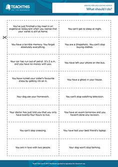 Giving Advice ESL Activities Games Worksheets English Speaking Game, English Class, English Grammar, Learn English, Help Teaching, Teaching Tools, Student Learning, Teaching Resources, English Teaching Materials
