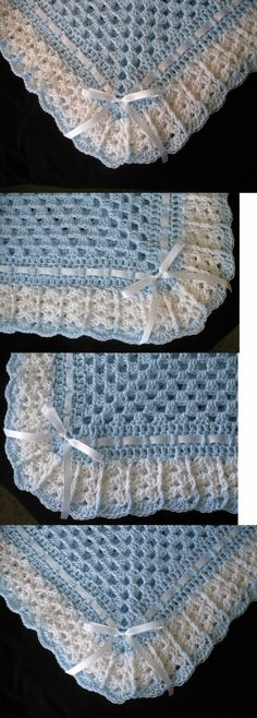 Blankets and Throws Hand-Crochet Blue And White Square Baby Blanket Afghan. Crochet Baby Blanket Free Pattern, Baby Afghan Crochet, Crochet Granny, Easy Crochet, Crochet Stitches, Knit Crochet, Baby Afghans, Baby Blankets, Crochet Crafts