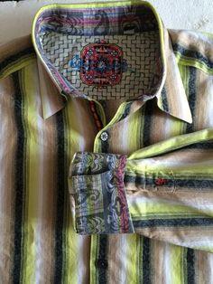 Robert Graham Button-Up Shirt XL Striped Black Brown White Green Long Sleeves #RobertGraham #ButtonFront