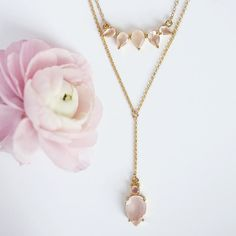 The Sunny  Malin nks in #rosequartz layered together are  by leahalx_jewelry