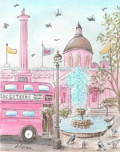 Pink London Trafalgar Square And London Bus Print By Debbie Cerone