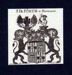 1780  Freiherren v. Fürth v. Brenner Kupferstich Wappen