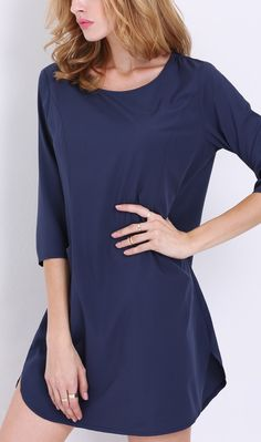 This navy half sleeve dress by SheIn