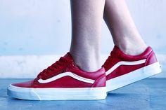 Vans Old Skool Leather Red On-Foot Look