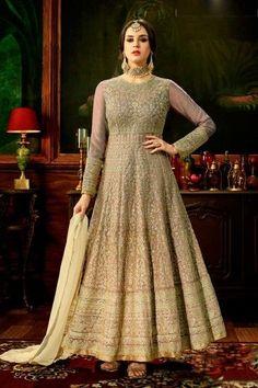 Poly Silk Anarkali Suit With Dupatta In Green Swiss Shadow - DMV15139