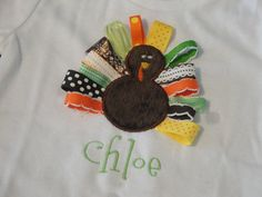 PERSONALIZED Turkey Ribbon Shirt AND Bow. $25.00, via Etsy.