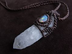 Milky quartz crystal point + Opal -  Mexico Coloradoan, from Japan /// #knife #knives #dagger