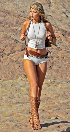 Gigi Hadid during Photo-shoot at Vasquez Rocks Park in Los Angeles, May 2013