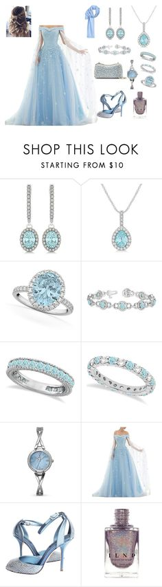 """""""pale blue ball gown and aquamarine accessories"""" by peachpiefromheaven ❤ liked on Polyvore featuring Allurez, Dolce&Gabbana, Elie Saab and Fendi"""
