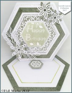 Hexagon Cards, Spellbinders Cards, Birthday Cards For Women, Anna Griffin Cards, Shaped Cards, Fancy Fold Cards, Easel Cards, Baby Cards, Flower Cards
