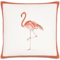 Hand Painted Pink Flamingo Indoor / Outdoor Pillow