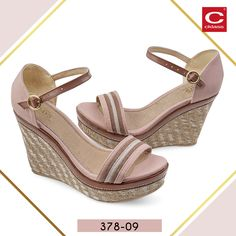 8ac402077c7 Sandalias con plataforma y tacón puente de color rosa palo y café