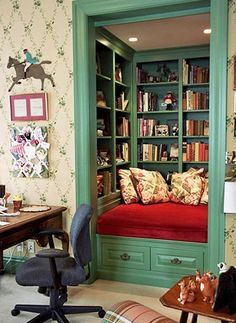 a book cave. Convert the closet in a spare room into a reading nook! Almost as awesome as a study with floor to ceiling bookshelves.Convert the closet in a spare room into a reading nook! Almost as awesome as a study with floor to ceiling bookshelves. Home Libraries, Cozy Nook, Cosy, Spare Room, Book Nooks, My New Room, Small Spaces, New Homes, Sweet Home