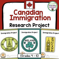 Teaching about Canadian immigration? This is the product for you! Students will explore the changing nature of Canadian immigration by researching the immigration experience of one cultural group. Just add information and a file folder - everything else included! Criteria, cover pages, research and paragraph planning templates, writing paper, and more!