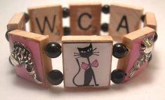 Resin and Scrabble Tile Reversible Bracelets