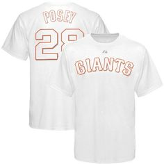 MLB Majestic San Francisco Giants #28 Buster Posey White-On-White Player T-shirt by Majestic. $24.95. Majestic San Francisco Giants #28 Buster Posey White-On-White Player T-shirt100% CottonLightweight ribbed T-shirtOfficially licensed MLB productTagless collarScreen print graphicsImportedRib-knit collar100% CottonLightweight ribbed T-shirtScreen print graphicsRib-knit collarTagless collarImportedOfficially licensed MLB product