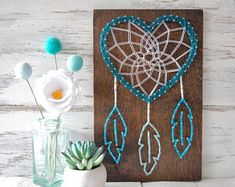 MADE TO ORDER heart Dream Catcher, String Art, wood Sign, Native American, heritage, gift