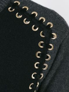 Panelled sweater with eyelet detail; sewing idea; textiles; close up fashion design detail // Givenchy