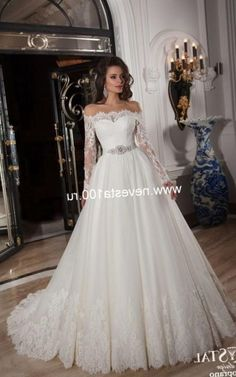 Wedding Dress 2016 Hot Ivory Appliques Off the Shoulder Tulle Ball Gown  Plus Size Long Sleeve 8044e55c25ed
