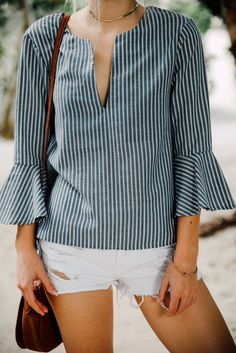 The Take Me Somewhere Blue and White Striped Top is just begging to be worn on your next vacay! Striped top with embroidered accents, bell sleeves, and a high-low hem. Classy Outfits, Casual Outfits, Fashion Outfits, Style Board, Greece Outfit, Playing Dress Up, Blouse Designs, Blue And White, My Style