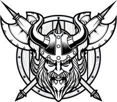 Viking Warrior Head B&W vector art illustration