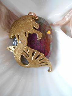 Golden Mermaid, Mermaid accessories, Mermaid fantasy jewelry, Rainbow Agate pendant, mermaid gift, unique mermaid gift, rainbow jewelry - pinned by pin4etsy.com