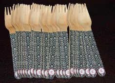 24 Wooden Forks or Spoons- Black and White Damask