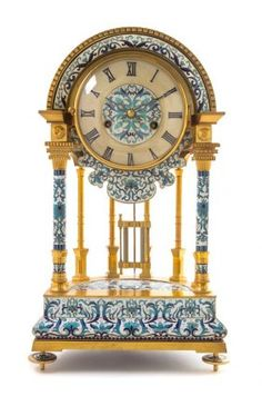 A Chinese Cloisonne Decorated Gilt Bronze Portico Clock