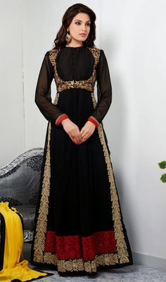 Create a stir amongst the people flaunting your stylishness in this black georgette embroidered long churidar suit. Lovely aari, resham and stones work a vital feature of this attire.