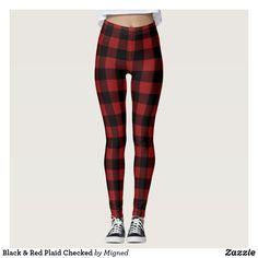 Black & Red Plaid Checked Leggings