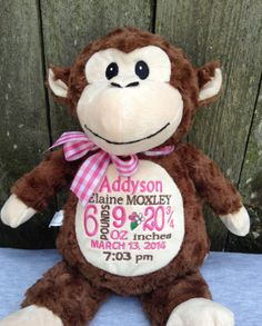 Personalized baby gift monogrammed monkey birth announcement personalized baby gift monogrammed monkey birth announcement personalized by world class embroidery negle Image collections