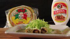 Recipe for Flautas en Salsa Verde - Ole Mexican Foods Recipe For Flautas, Mexican Cooking, Mexican Food Recipes, Corn Tortilla Recipes, Verde Sauce, Salsa Verde, Yummy Food, Yummy Recipes, Cooking Recipes