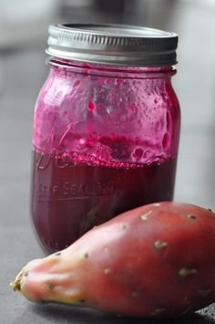 Prickly Pear pear syrup for margaritas or for a savory gastrique with a little added vinegar