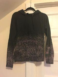0770361903 Womens Zine Sweatshirt Hooded Gray  amp  Pink Distressed Size Small  fashion   clothing