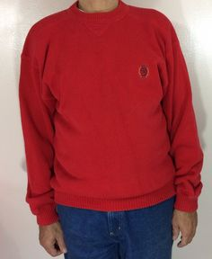 52ad8e3119 Vintage Tommy Hilfiger Mens Crewneck Sweater Size Large Red Crest Logo  Heavy Cot
