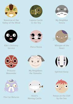Studio Ghibli movie icons.