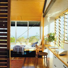 Cooran study nook and daybed Timber Architecture, Australian Architecture, Contemporary Architecture, Architecture Design, Minimalist House Design, Minimalist Home, Modern House Design, Gable House, Shed Homes