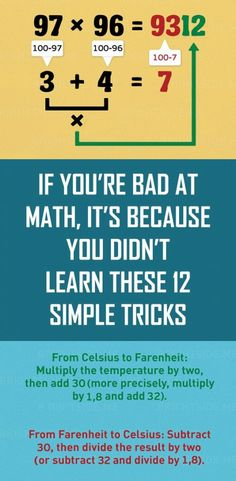 Learning math - If You're Bad at Math, It's Because You Didn't Learn These 12 Simple Tricks Math Homework Help, Math Help, Help Teaching, Teaching Math, How To Learn Math, Math Games, Math Activities, Teaching Multiplication, Math Math